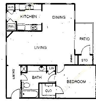 820 sq. ft. A4 floor plan