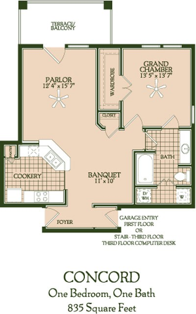 785 sq. ft. to 835 sq. ft. Concord floor plan