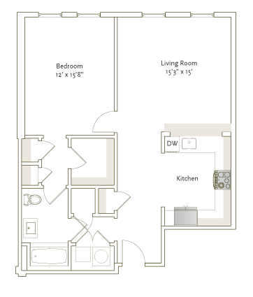 843 sq. ft. A1-8 floor plan