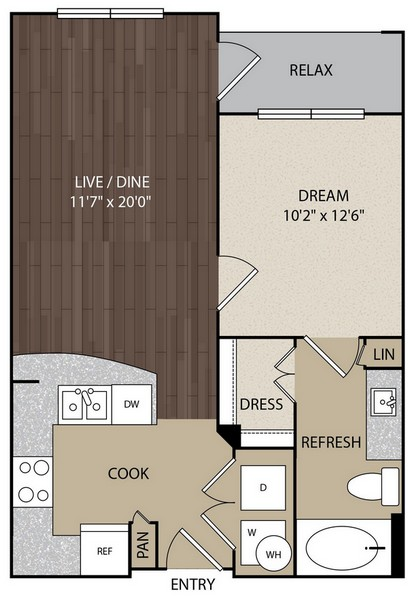 619 sq. ft. A1 floor plan