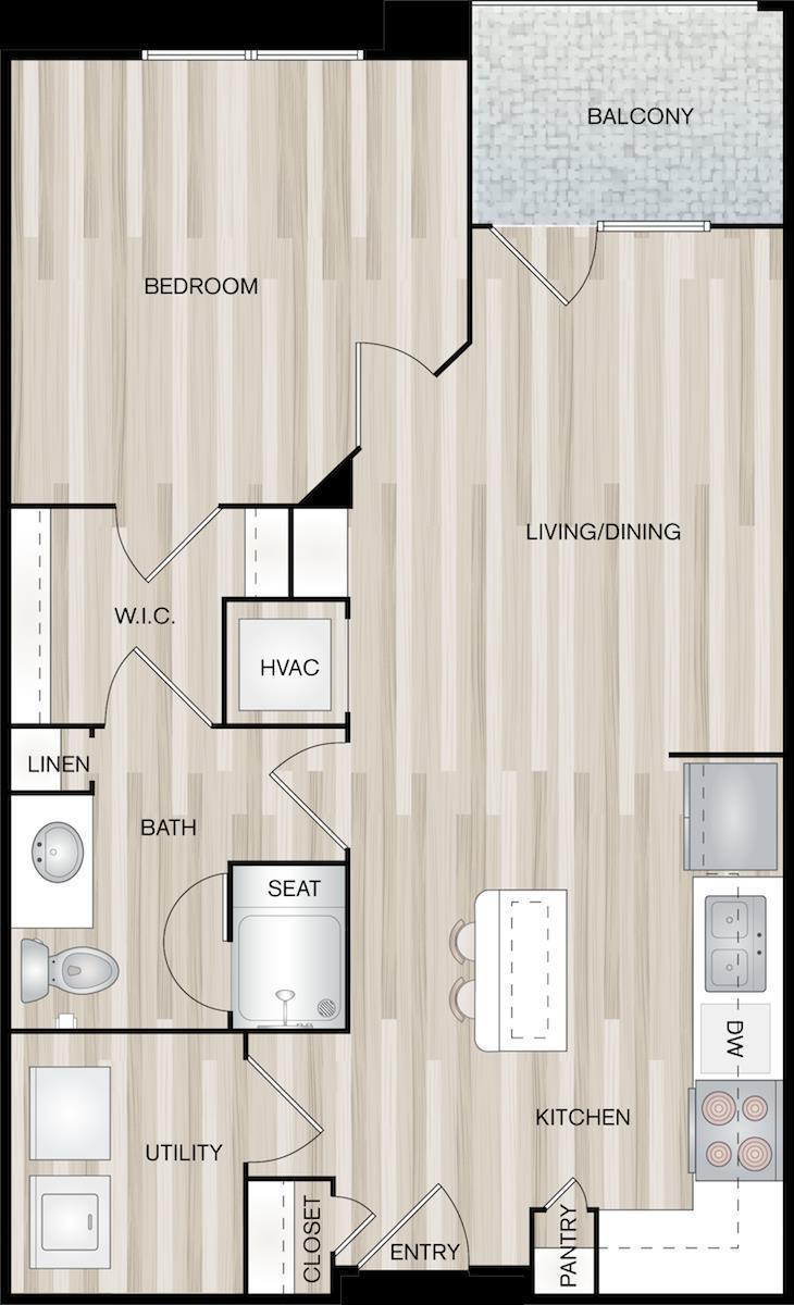 735 sq. ft. A2-Jett floor plan
