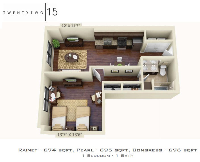 674 sq. ft. RAINEY floor plan