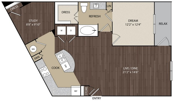 1,047 sq. ft. A10 floor plan