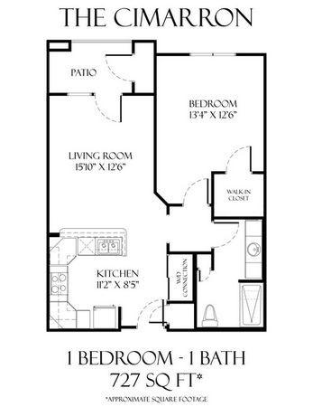 727 sq. ft. to 955 sq. ft. Cimarron 50% floor plan