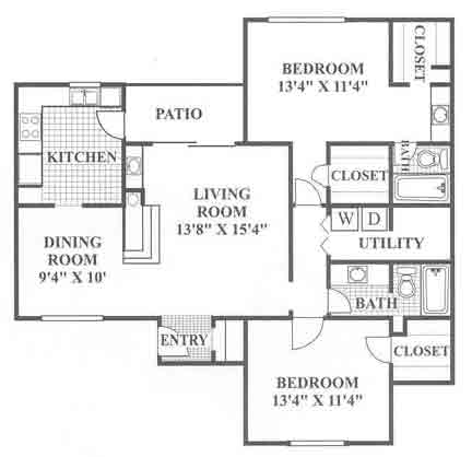 1,186 sq. ft. Emerald Hill floor plan
