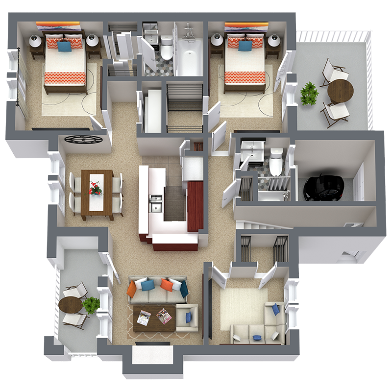 1,344 sq. ft. C1 floor plan