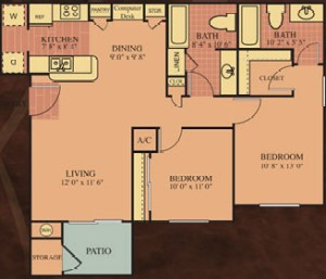 985 sq. ft. 60% Picasso floor plan