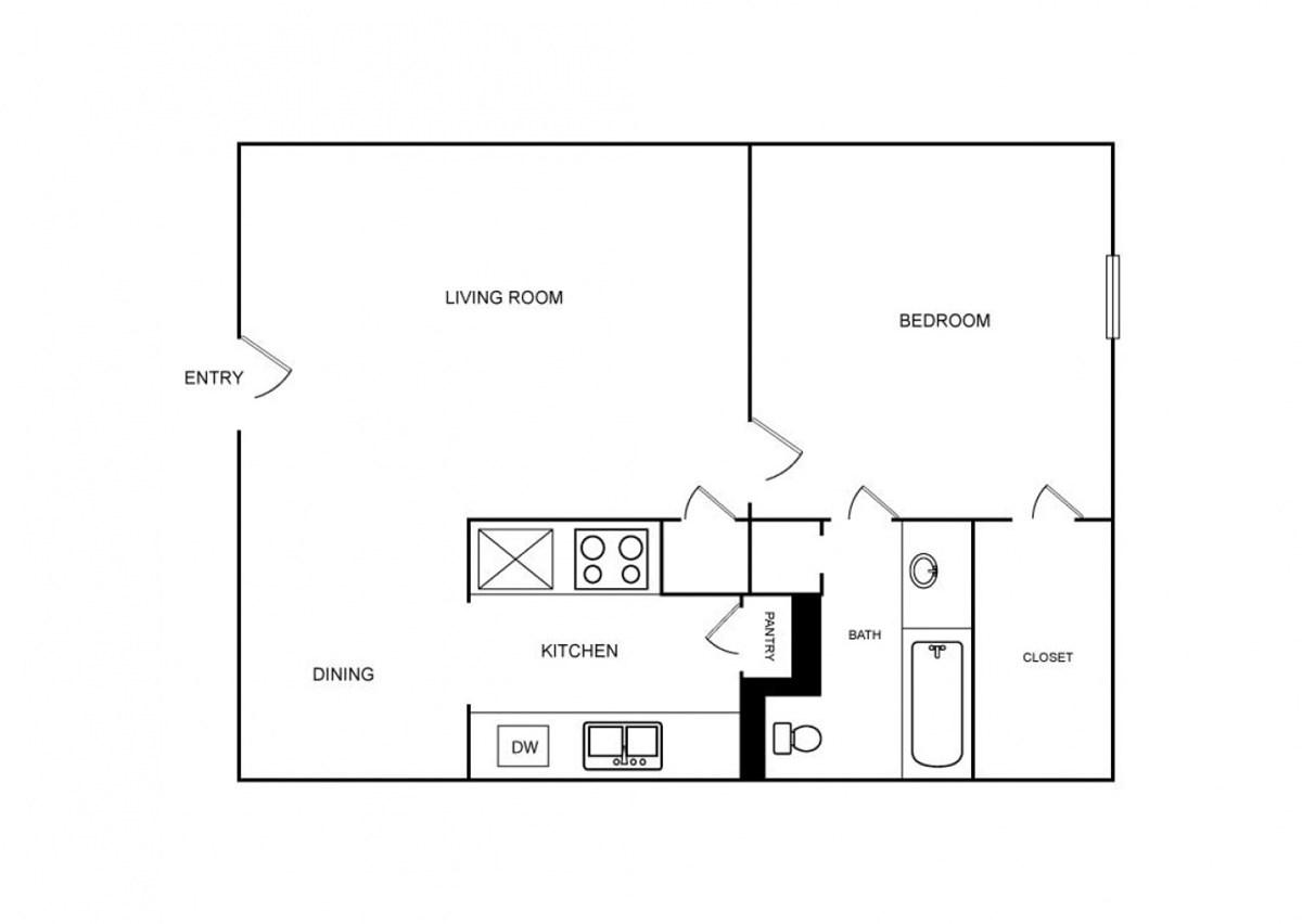 730 sq. ft. floor plan