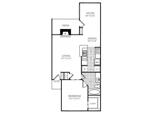 778 sq. ft. D floor plan