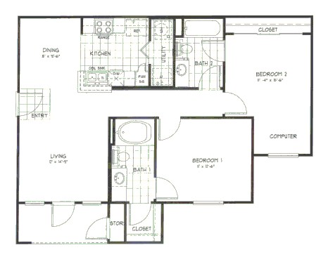943 sq. ft. Magnolia floor plan