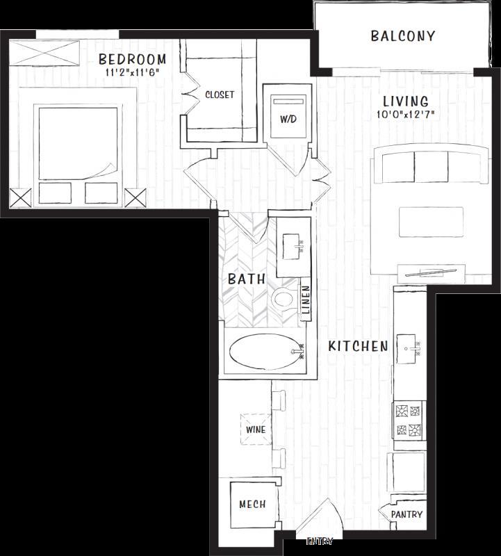 613 sq. ft. S1B floor plan