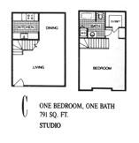 791 sq. ft. C floor plan