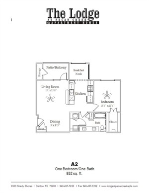 852 sq. ft. A2 floor plan