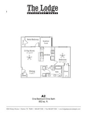 852 sq. ft. A2 floor plan