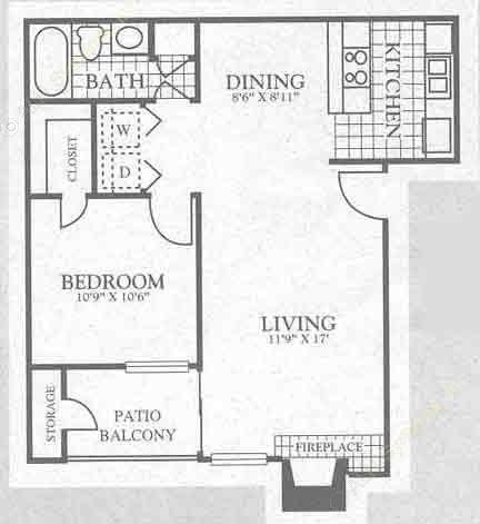 713 sq. ft. 3A2 floor plan