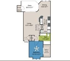 763 sq. ft. A2 floor plan