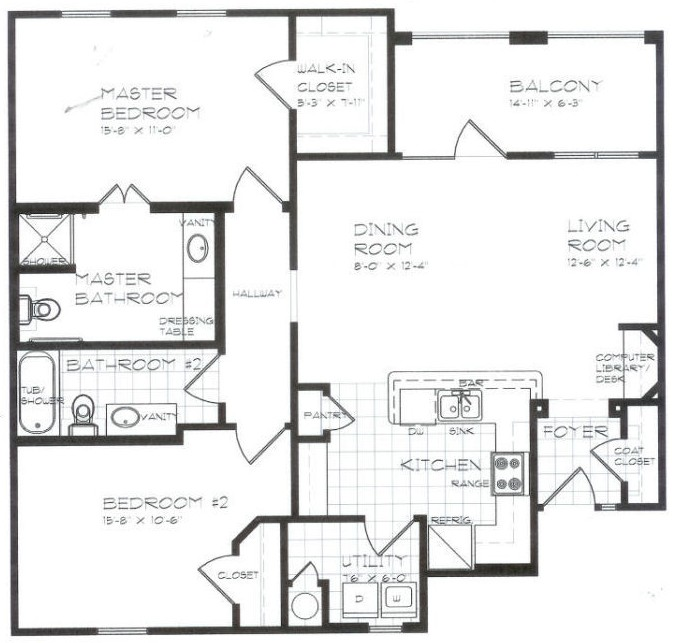 1,135 sq. ft. B2 60% floor plan