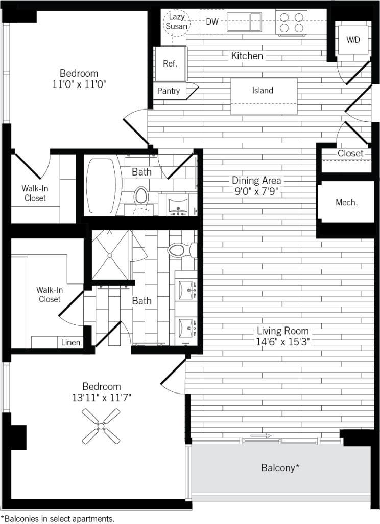 1,137 sq. ft. 2A floor plan