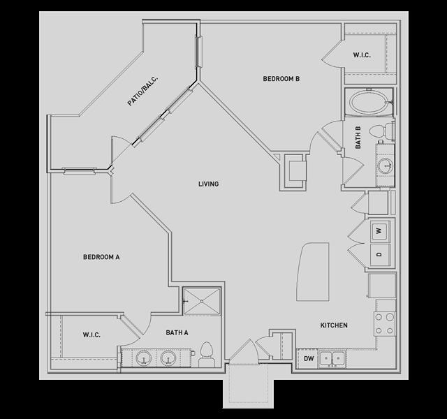 1,128 sq. ft. B3 floor plan