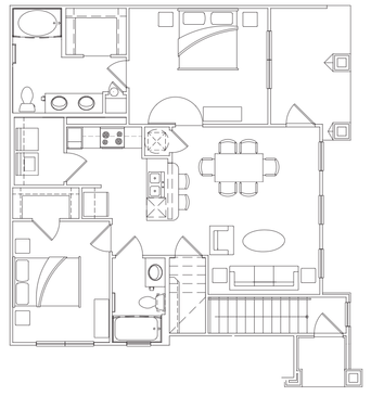 1,024 sq. ft. B-1 Lower floor plan