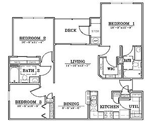 1,050 sq. ft. C1/60% floor plan