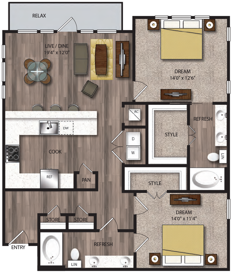 1,270 sq. ft. B6.1 floor plan