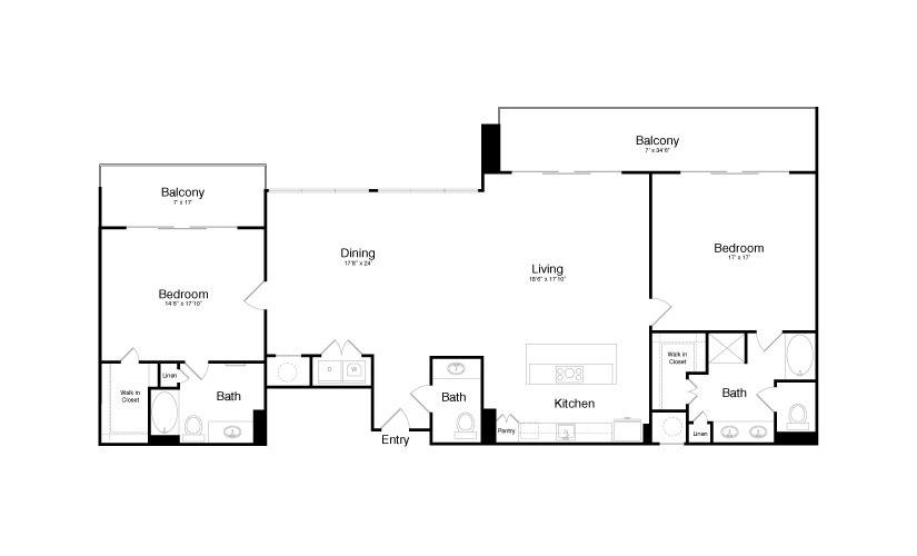 2,167 sq. ft. PH5 floor plan