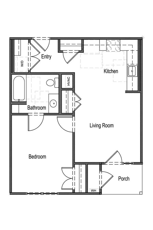 635 sq. ft. A1 60% floor plan