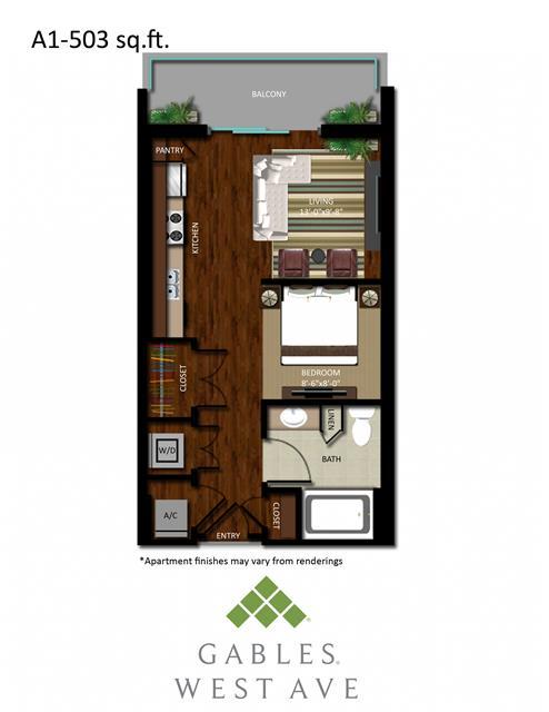 503 sq. ft. DA1 floor plan