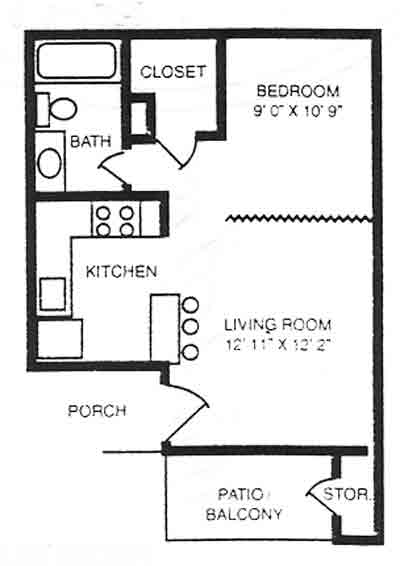 445 sq. ft. EFF floor plan