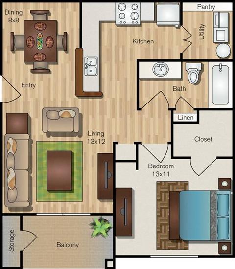 729 sq. ft. A2 floor plan