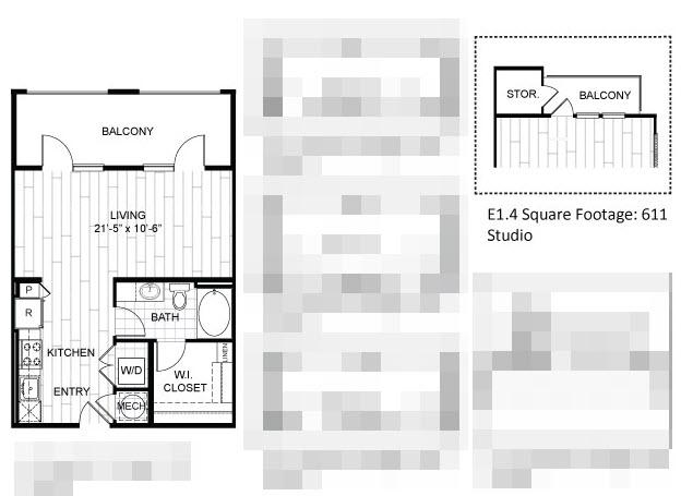 611 sq. ft. E1.4 floor plan