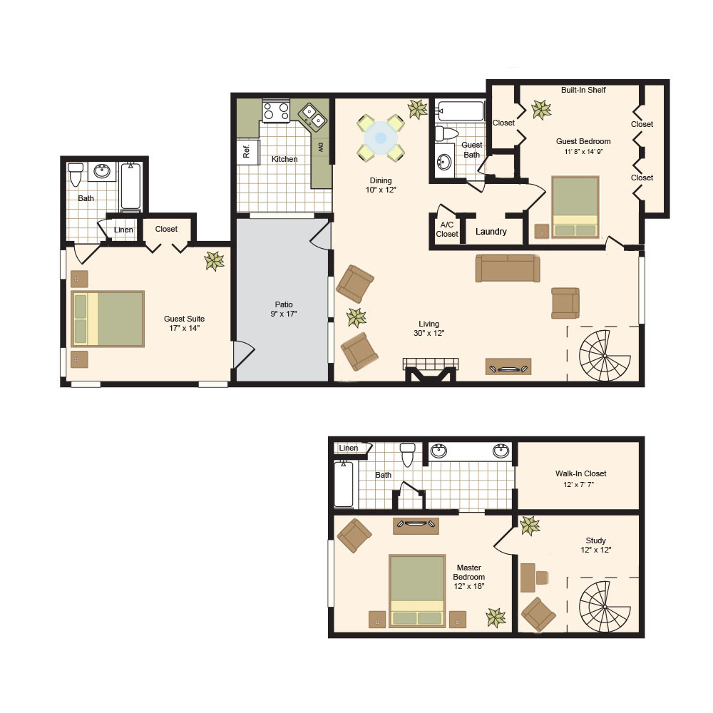 2,217 sq. ft. L-House floor plan