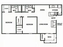 852 sq. ft. B2 floor plan