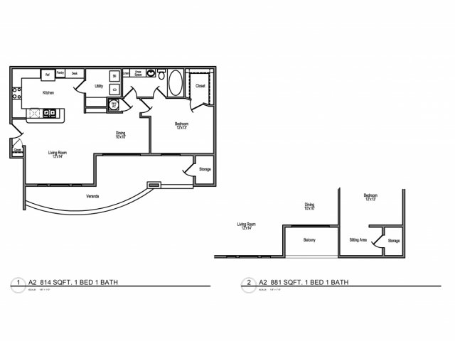 814 sq. ft. B1 floor plan