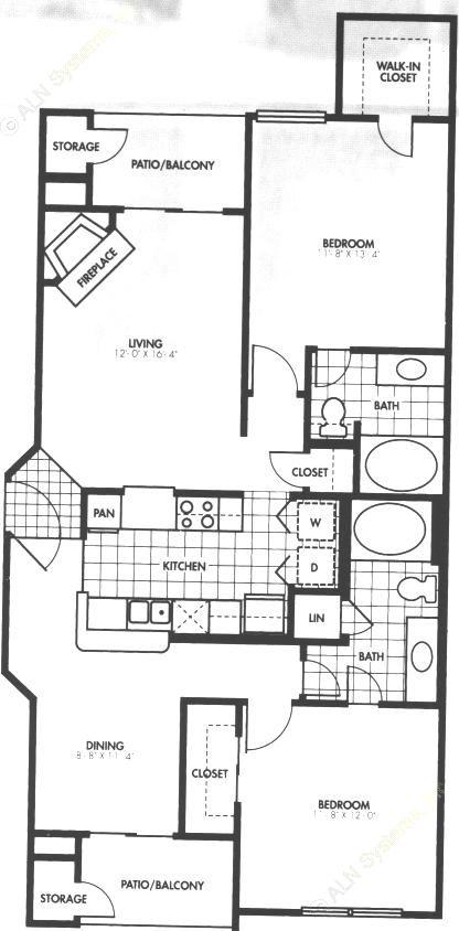 1,107 sq. ft. B1 floor plan