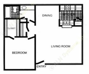 800 sq. ft. Cranford - A3 TH floor plan