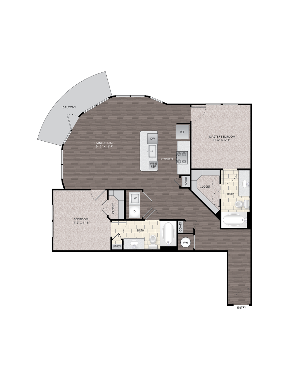 1,177 sq. ft. B6A floor plan