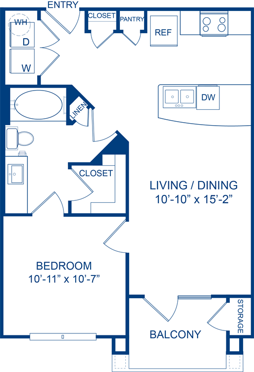648 sq. ft. Bluecurls floor plan