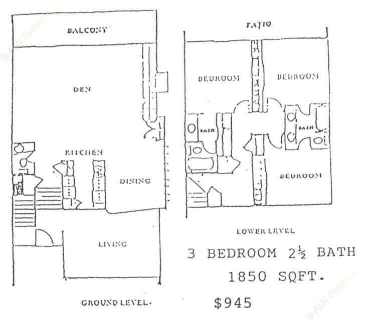 1,850 sq. ft. floor plan