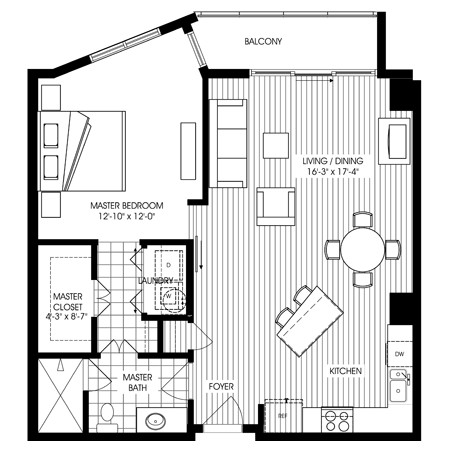 905 sq. ft. A17 floor plan