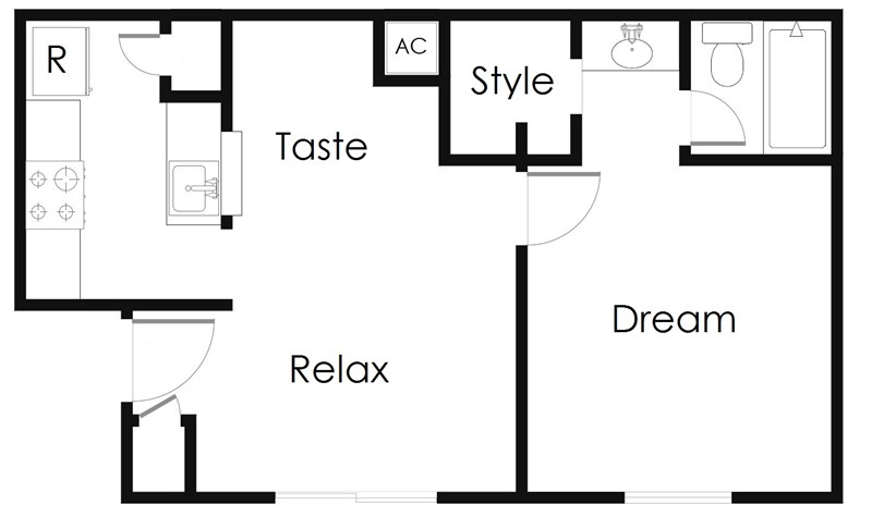 514 sq. ft. A1 floor plan