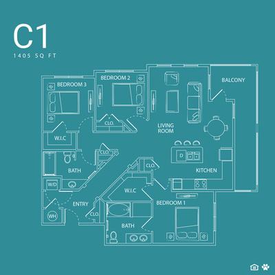 1,405 sq. ft. C1 floor plan