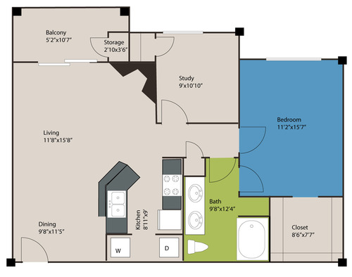 949 sq. ft. A4 floor plan