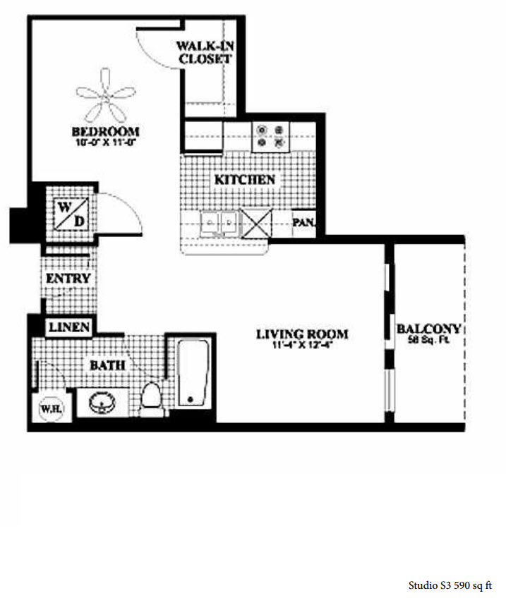 590 sq. ft. to 591 sq. ft. S3/S4 floor plan