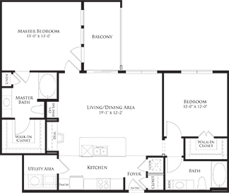 1,174 sq. ft. 6B3 floor plan