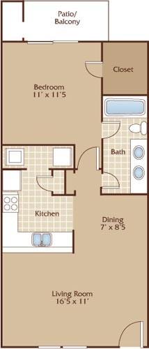 666 sq. ft. Barton floor plan