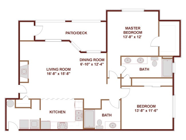 1,196 sq. ft. 22D floor plan