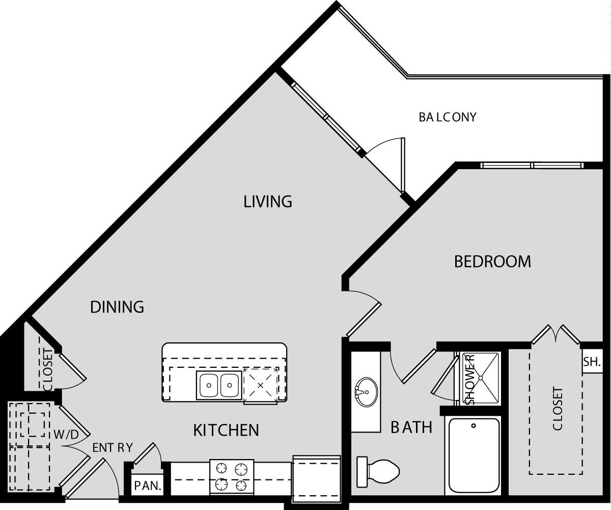 757 sq. ft. A3A floor plan
