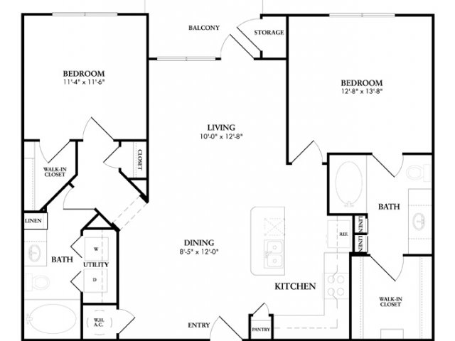 1,089 sq. ft. to 1,174 sq. ft. Perthshire floor plan